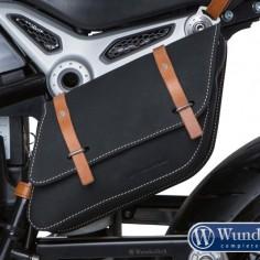Leather side pocket - black